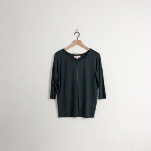 Philosophy | gray faux leather 3/4 sleeve shirt
